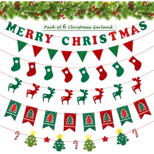 Set Striscioni di Natale, 6 bandierine da appendere