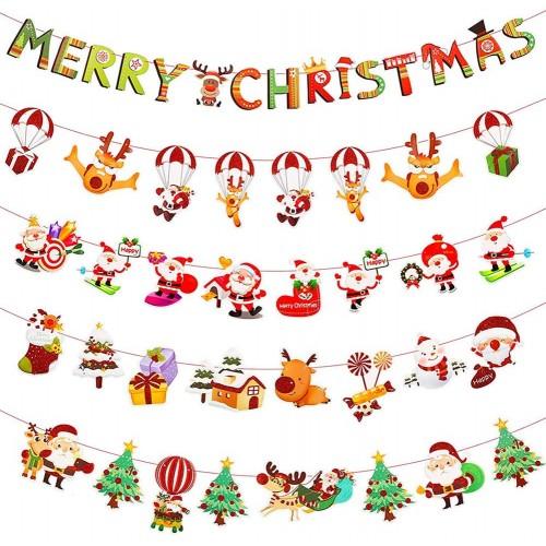 Set 7 Striscioni di Natale, bandierine sagomate per feste