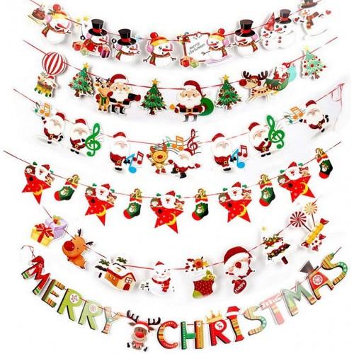 Kit con 6 bandierine di Natale da  2.7m, decorazioni da appendere