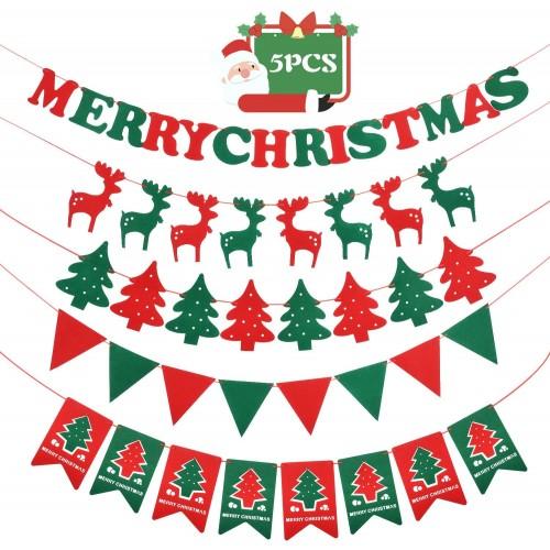 ❄ Set 5  Banner Natalizio, Striscione Buon Natale