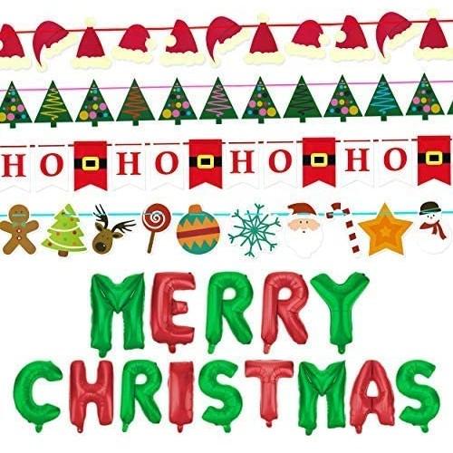 Confezione da 4 festoni Natale + Merry Christmas
