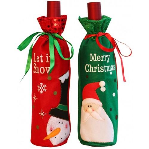 Set 2 sacchetti copri bottiglia vino tema Natale, decorazione da tavola