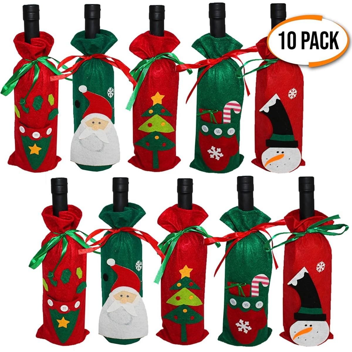 Confezione da 10 copribottiglie di vino tema Natale in tessuto