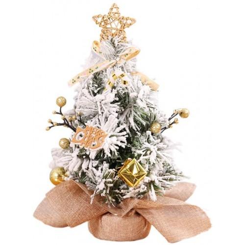 Mini Albero di Natale centrotavola pino con neve, decorazione tavola