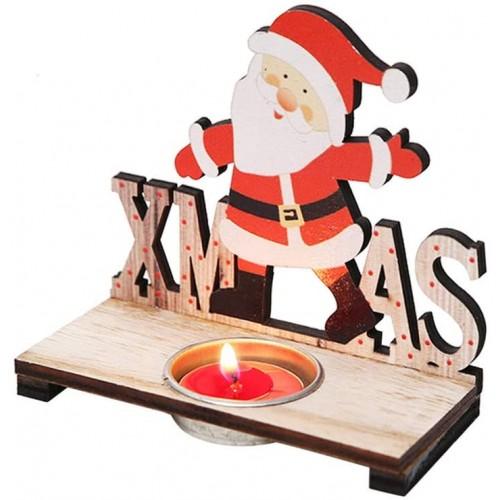 Portacandele Babbo Natale, centrotavola in legno, simpatico e originale