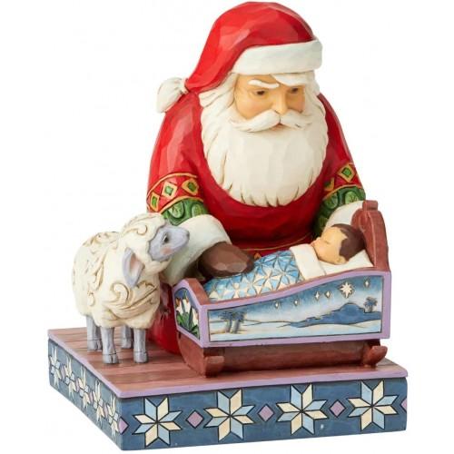 Babbo Natale  con Gesù Bambino da 18.5 cm, statuina decorativa
