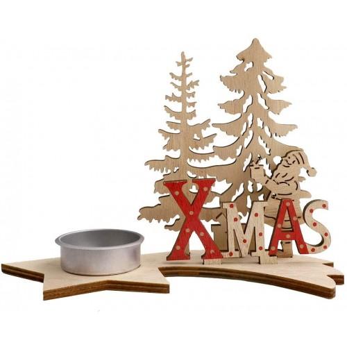 Portacandele natalizio in legno - Chriastmas Tea, centrotavola