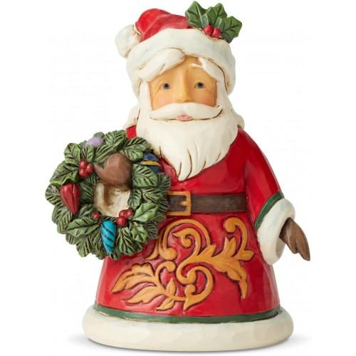 Miniatura di Babbo Natale con Ghirlanda da 9 cm, in resina