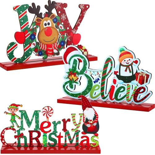 Set 3 decorazioni Natale da Tavola, in legno, originali