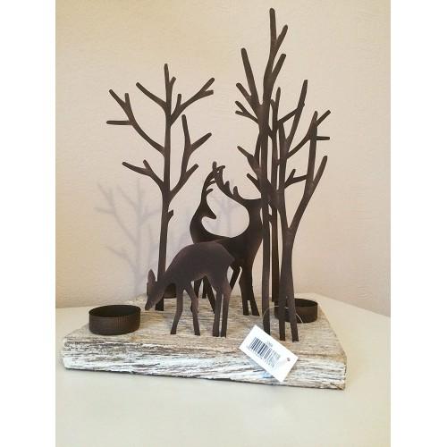Porta Candela a forma di renna su base quadrata in legno, decorazione