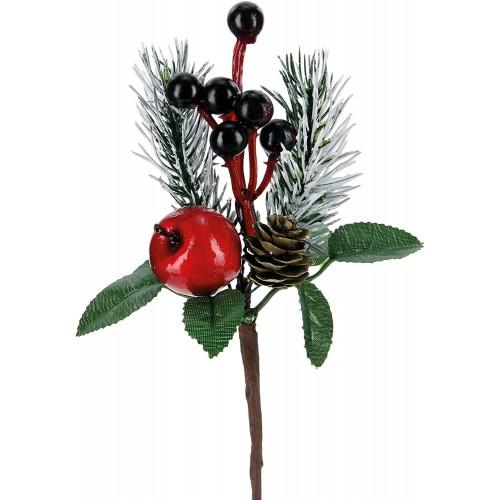 Set 10 pick artificiali con pino pigne bacche da 18 cm, rami artificiali