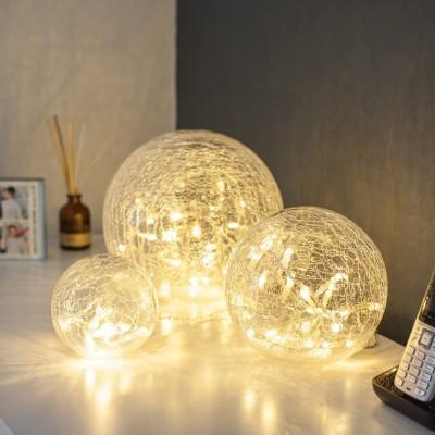 Set di 3 Sfere di cristallo con luci bianche LED, decorazioni originali