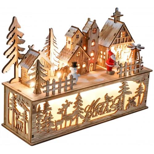 Villaggio in legno, decorazione Natalizia, con luci a LED