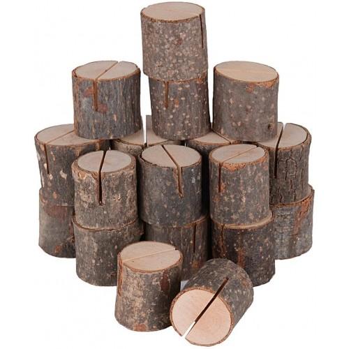 Set 20 Segnaposto tronco albero di legno