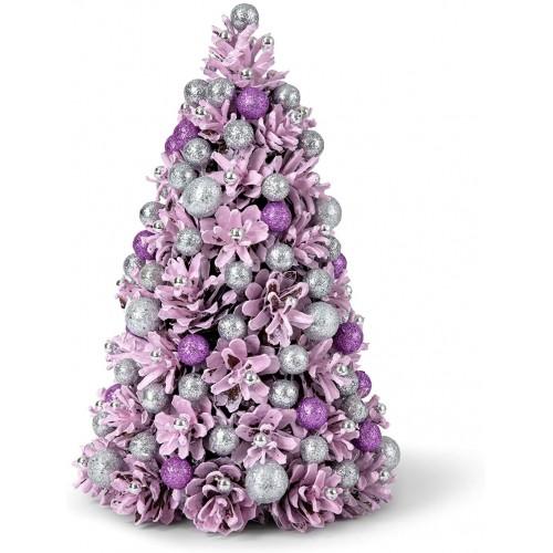 Mini albero di Natale rosa e viola, centrotavola