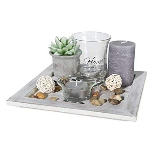 Piatto in Legno con portalumini in vetro, centrotavola, set regalo
