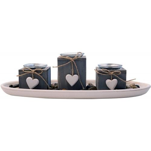 Vassoio Grigio in legno e lanterne con cuori, centrotavola decorativo