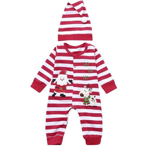 Vestito neonato body, Natalizio, con stampe Babbo Natale e cappello