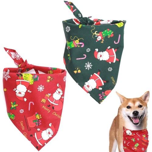 Bandana natalizia per cani o gatti, sciarpa per animali, 2 pezzi