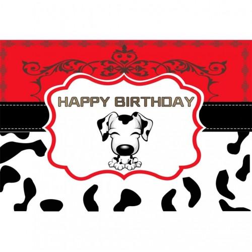 OERJU 1,5x1m Compleanno sfondo Dálmata Patrón de punto negro Feliz cumpleaños. Compleanno Decorazione della parete Sfondo Rit