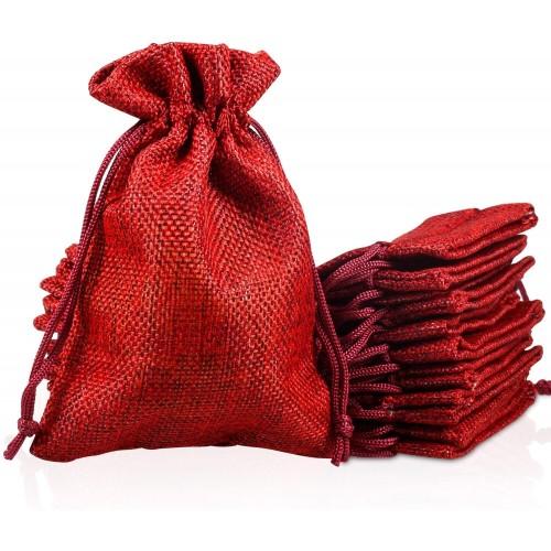 Set 30 Sacchetti di Iuta rossi per Natale, confezioni regalo