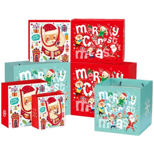 Set 12 sacchetti regalo natalizi, grafiche e misure assortite