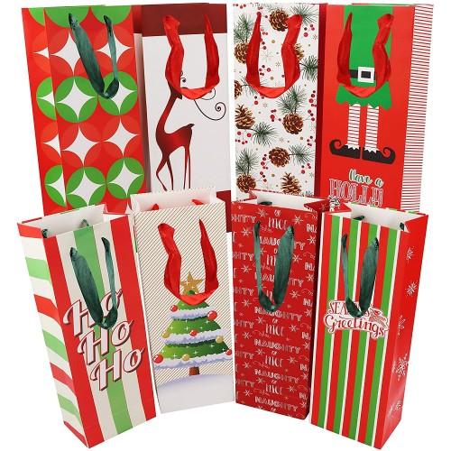 Set 16 Confezione regalo bottiglia di vino, stampe natalizie