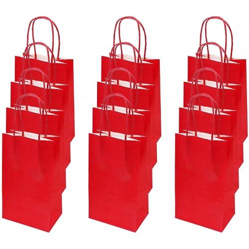 Set 12 Sacchetti rossi di carta da 13 x 8 x 21cm, per regali di Natale