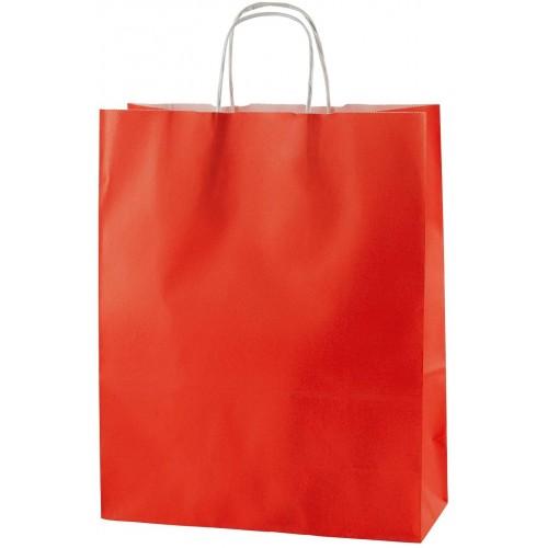 Confezione da 25 Sacchetti rossi da 25 x 10 x 31 cm 90 gsm, con manico