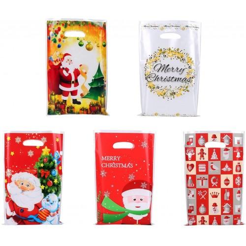 Set 50 sacchetti per caramelle di Natale, bustine in PVC