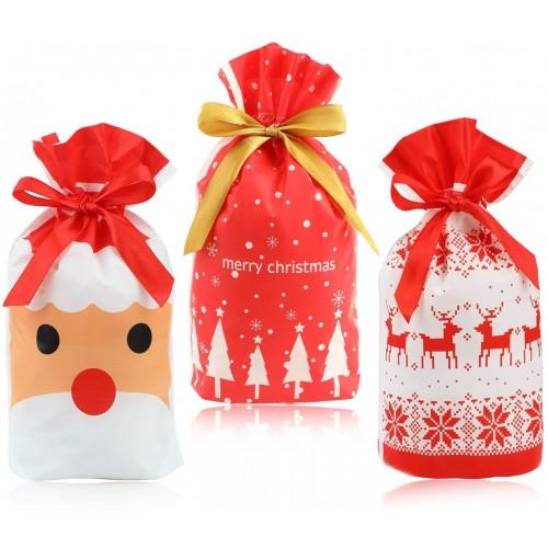Set 30 Sacchetti per festa di Natale, richiudibili con nastrino