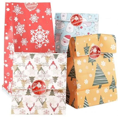 Set 24 Pz Bustine regalo carta Kraft con adesivi tondi per chiusura
