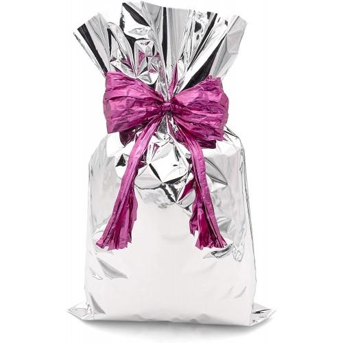 Set 50 bustine regalo argento, fiocco viola