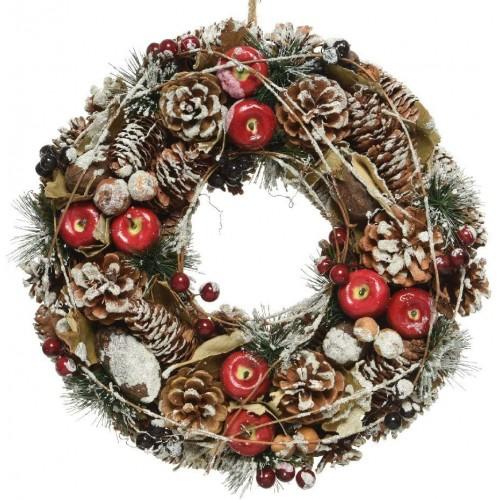 Ghirlanda natalizia con bacche e neve, da 33 cm, decorazione per ingresso