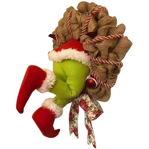 """Ghirlanda natalizia con Babbo Natale, con scritta """"How The Grinch"""""""