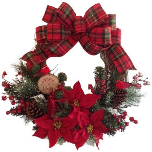 Ghirlanda natalizia scozzese, decorazione con fiocco