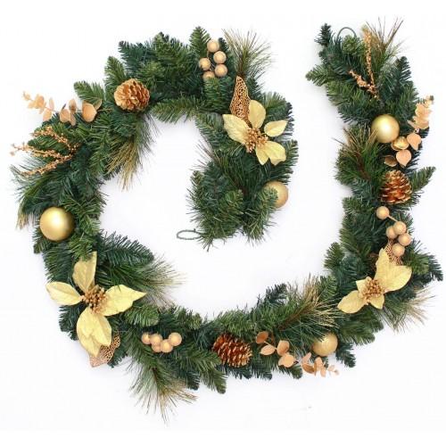 Ghirlanda di Natale crema e oro, modellabile, decorazione per casa