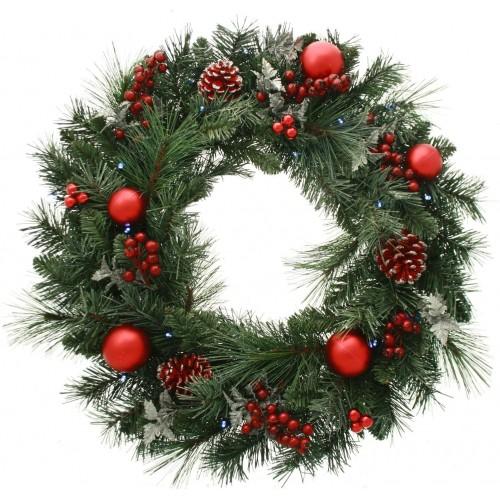 Ghirlanda natalizia con 20 LED e bacche rosse, diametro 60 cm