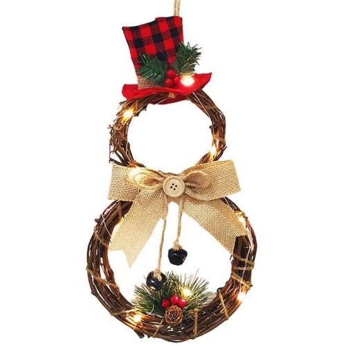 Ghirlanda natalizia in rattan con fiocco, pigne, bacche e luci Led