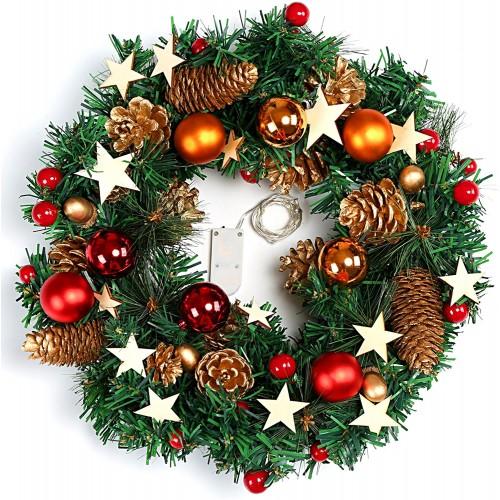 Ghirlanda di Natale con palline luminose e luci a LED