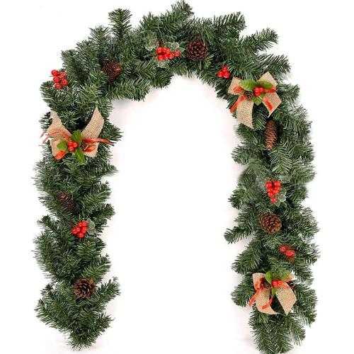 Ghirlanda di Natale con bacche e pigne, abete finto, da 1.8 metri