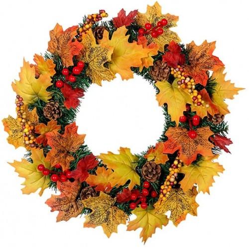 Corona artificiale autunnale e natalizia, di 40 cm, decorativa