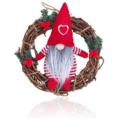Ghirlanda con Babbo Natale in feltro, in rattan, con decorazioni