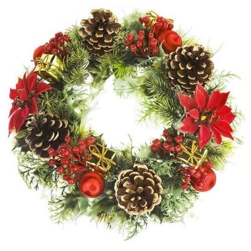 Ghirlanda con agrifoglio, anello di Natale con decorazioni