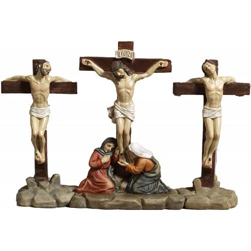 Set Crocifissione di Gesù e i 2 ladroni, in resina, presepe pasquale