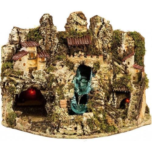 Grotta per presepe con cascata, casette e luci