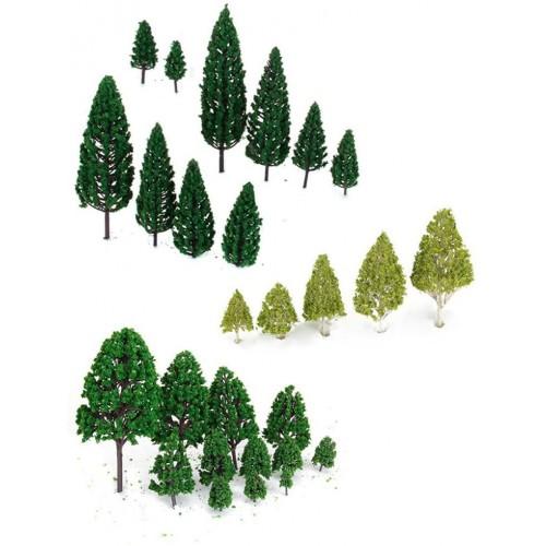 Set 27 alberi in miniatura per presepe, pini e abete