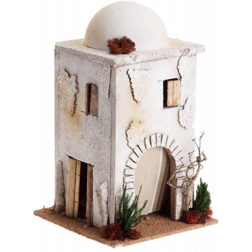 Casa araba con cupola per presepe, modellino in legno