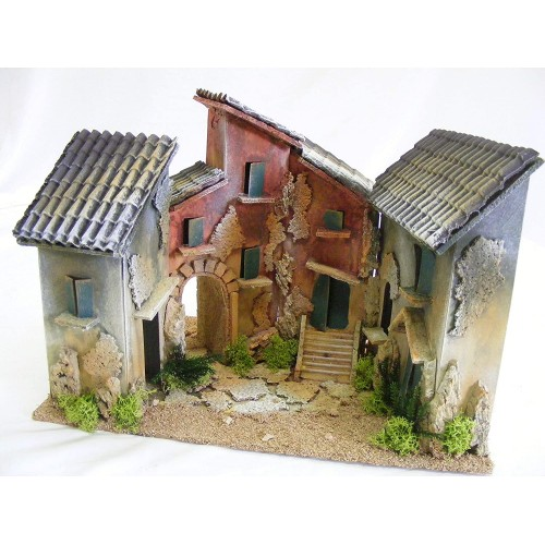 Modellino Borgo con 4 case per presepe