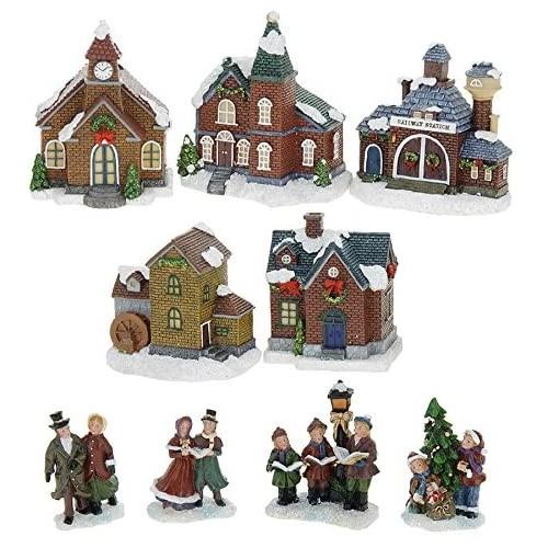 Modellino Villaggio di Natale con Illuminazione, per presepe o decorazioni